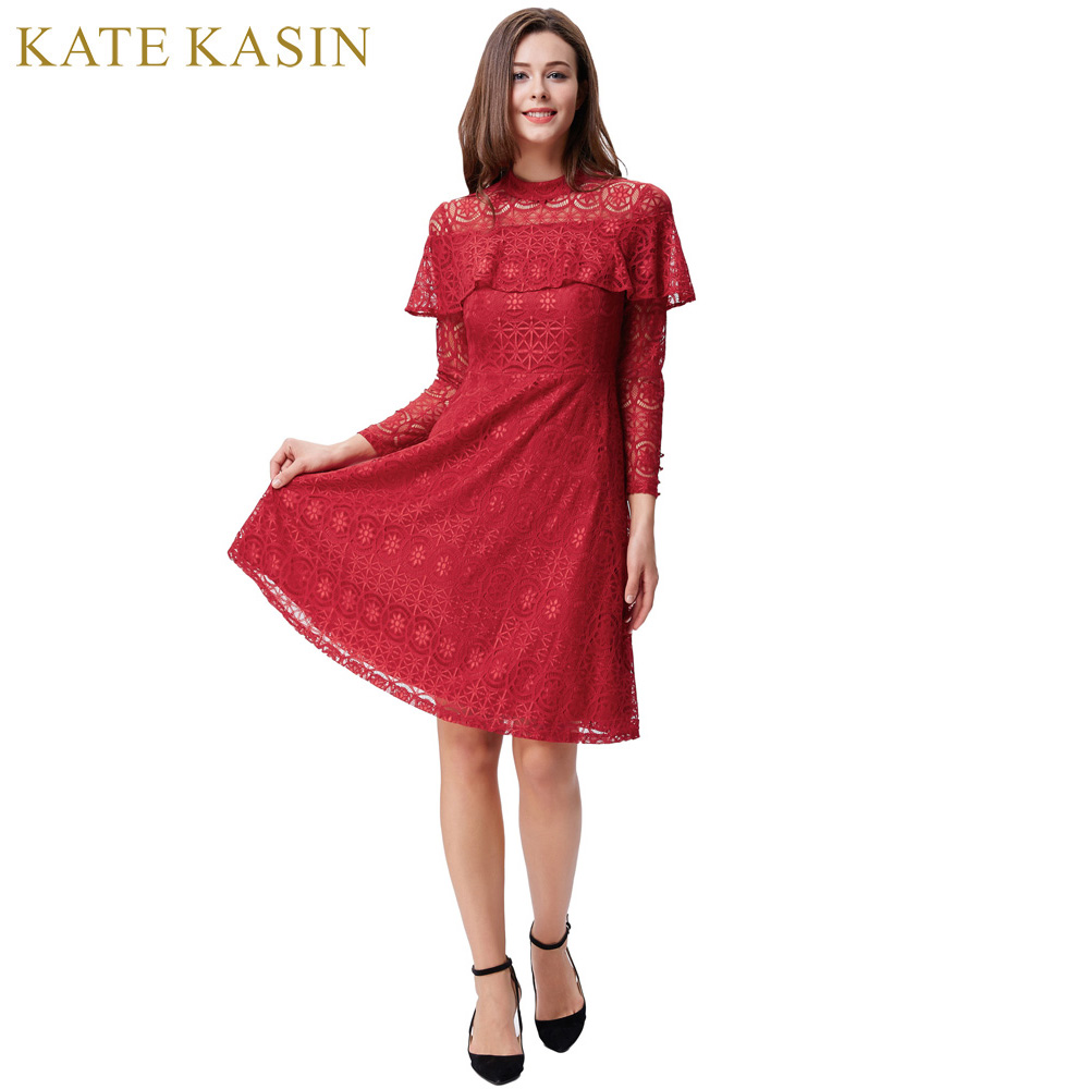 Kate Kasin Red Lace Cocktail Dresses Long Sleeve Cheap Short Party ...