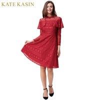 Kate Kasin Red Lace Cocktail Dresses Long Sleeve Cheap Short Party Dresses Knee Length Women Formal Gowns Vestido de Coctel