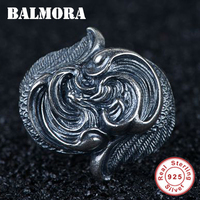 BALMORA 925 Sterling Silver Feather Wings Design Open Rings for Men Party Thai Silver Ring Retro Fashion Jewelry Anillos SY22449