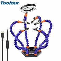 Toolour Helping Hands Third Arm Soldering Work Station 6 Flexible Arms with Precision 360 Degree Alligator Clip USB 3X Magnifier