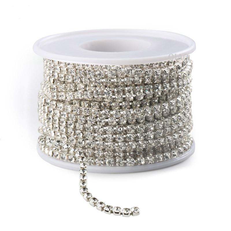 Dropwow QIAO sewing rhinestone chains 10yards lot shiny crystal 2mm ... f99c4f314c5c