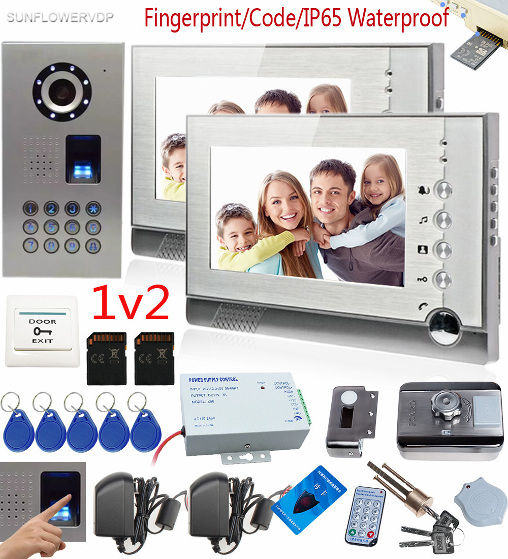 Free Shipping New 7 Door Monitor Video Intercom Door Phone Recorder System 2 Monitors Waterproof Rain Cover E-lock 8g Sd