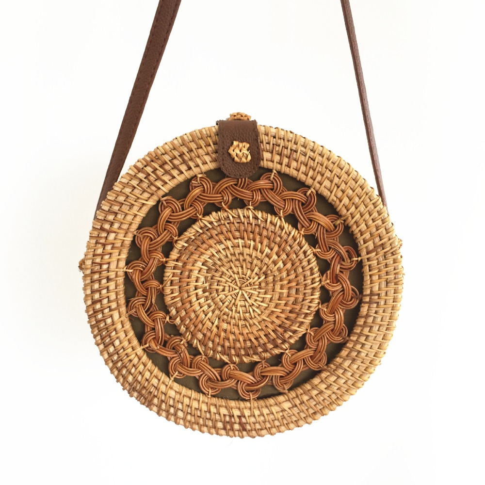 Hand-woven woven diagonal womens shoulder bag leather buckle straw round beach Bohemian style Ins with Bali hot list