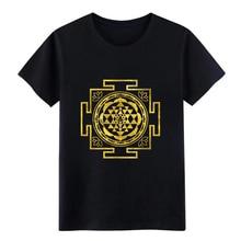 Golden Sri Yantra / Sri Chakra t shirt Print tee shirt O-Neck Unique Fitness Casual Summer Style Novelty shirt