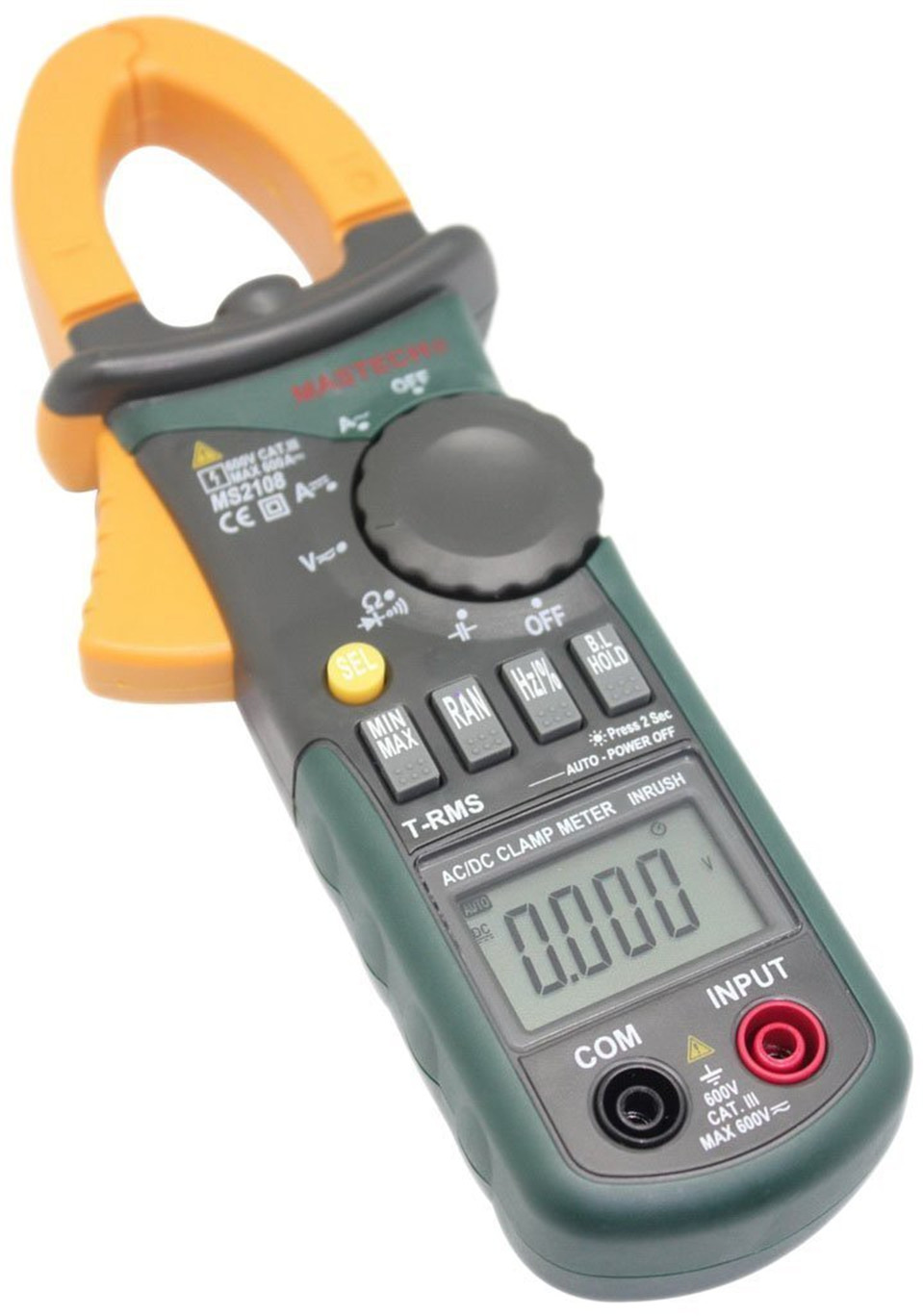 2017 New Mastech MS2108 Digital Clamp Meter True RMS LCD Multimeter AC DC Voltmeter Ammeter Ohm Herz. Duty Cycle Multi Tester 2108