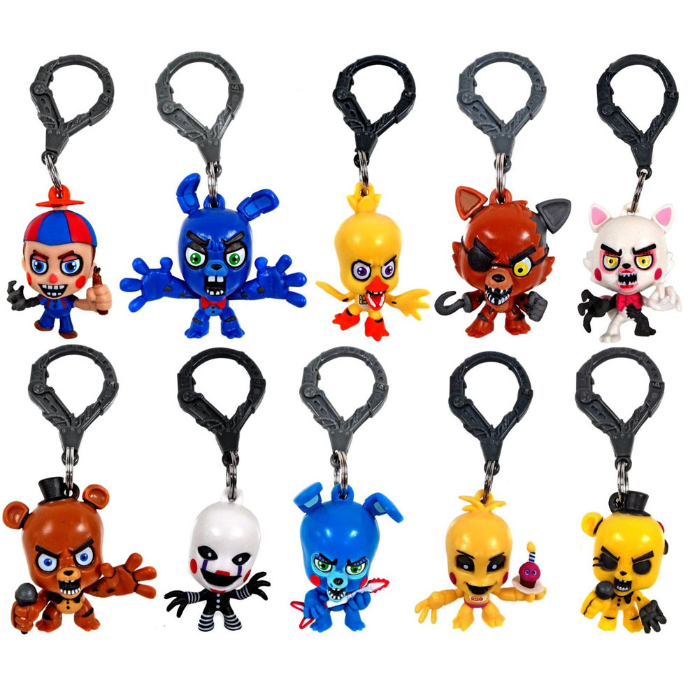 Clip-Set Figure FNAF Five-Nights Hangers Key-Chain Collector of 10-Toys At 3-Freddy Original