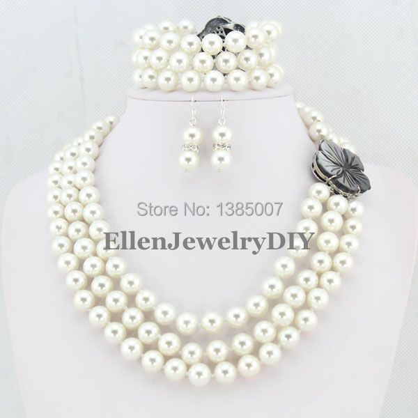 Elegant Lady 3 Rows Shell Pearl Jewelry Set Shell Pearl Necklace Wedding Gift Wedding Gift Bridesmaid Necklace Free Shipping