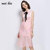 A Type Women S Silk Dress New 2017 European Retro Embroidery Flowers Slim MB20171119