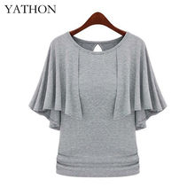 YATHON Fashion Cloak O-neck Slim Stretchy Tops Women New Pinup Solid Cotton Blend Loose Casual Work Office Plus Size 5xl T-Shirt