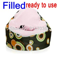 WITH FILLER,  baby bean bag chair , pink bubbles kids beanbag sleeping sofa beds, 2 upper layer baby belt safey chair, FILLED