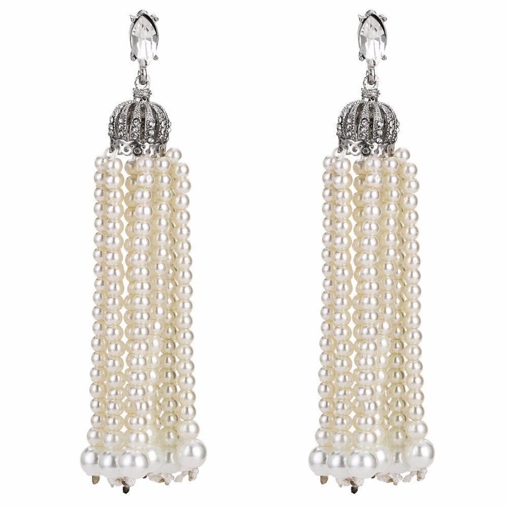 Qiaose Artificial White Pearls Tassel Dangle Drop Earrings for Women  Fashion Jewelry Boho Maxi Collection Earrings 09e52fe398c0
