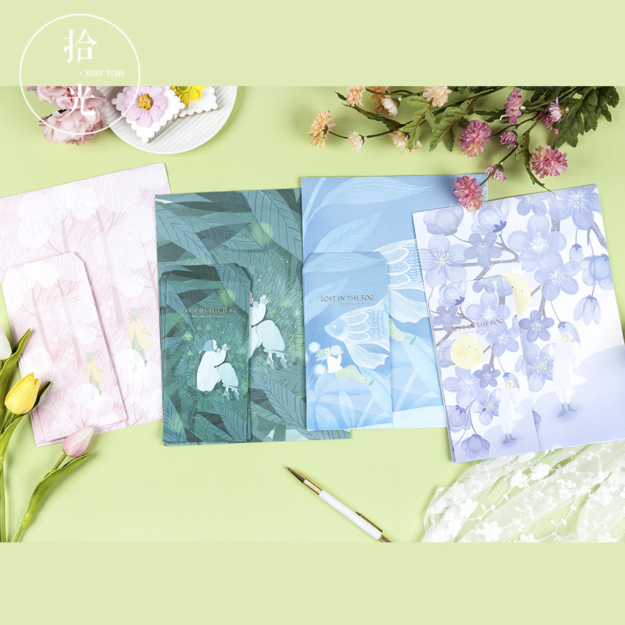 9Pcs/Set 3 Envelopes + 6 Letter Papers Lost In The Fog Series Envelope Writing Paper Gift Stationery