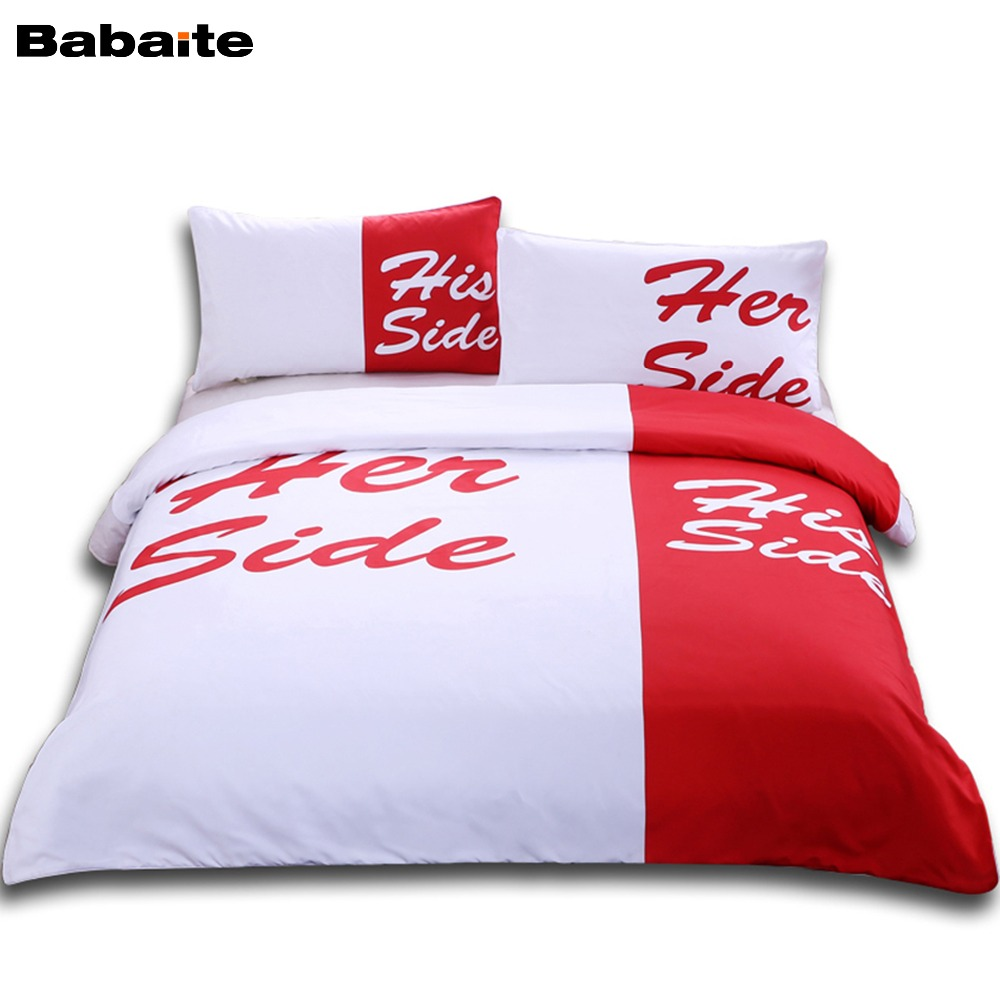 Babaite His Her Sides Creative Funny Bedding Set No Fading