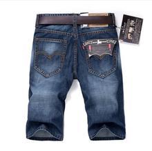 Мужские хлопок джинсовые шорты эластичный Короткие джинсы новые мужские синие повседневные Короткие джинсы мужские прямые джинсовые Короткие джинсы Размеры 28-40