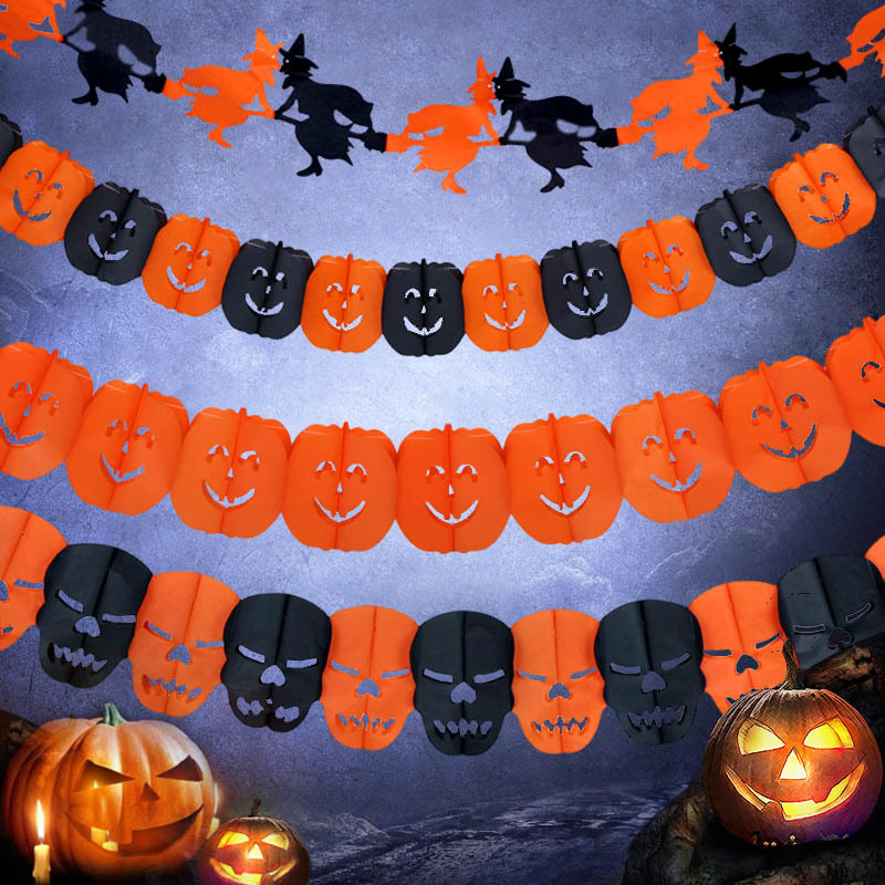 Halloween Party Decoration Witch Pumpkin Ghost Sticker Props Pumpkin Skull Phantom Spider Bats Paper Craft Supplies