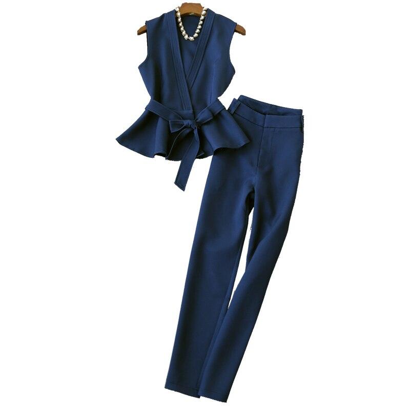 Dark Velours Pour Unie Tenues Femmes Ensembles Taille La Tweed 2 Nouvelle Pièce Ensemble Femme coréen Blue Survêtements Vêtements Couleur Plus q0wUn7g6