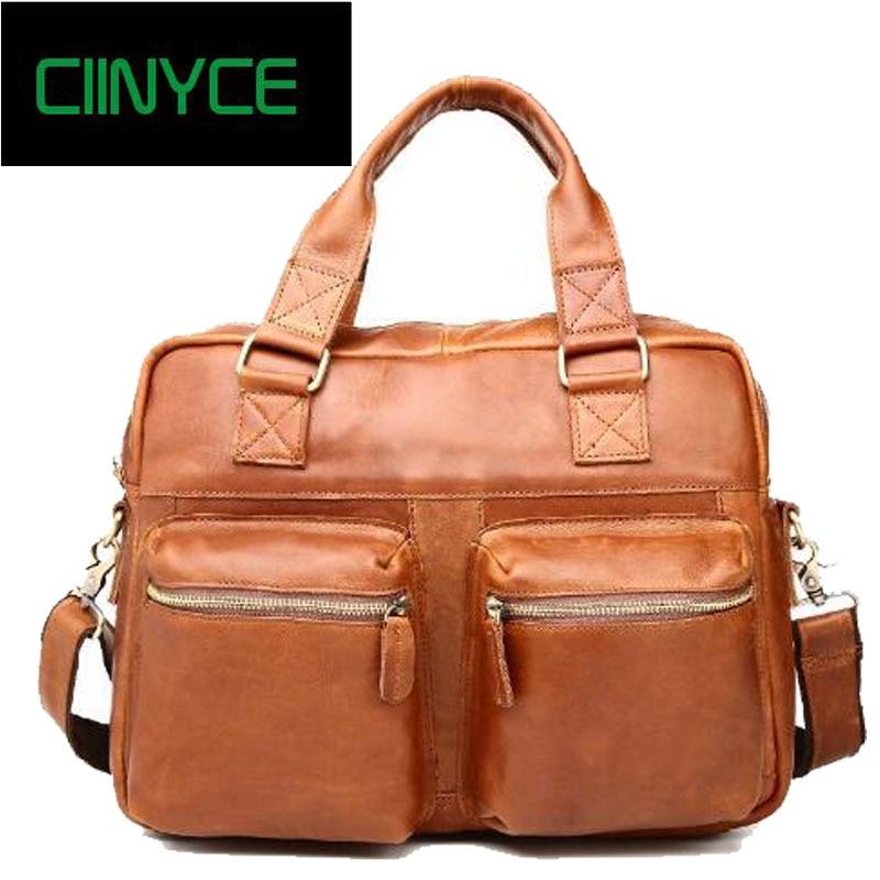 2018 New Vintage Real Genuine Leather Men Messenger Bags Cowhide Shoulder Handbag Business Man Bag Portfolios Laptop Briefcase все цены
