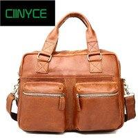 Vintage Real Genuine Leather Men Messenger Bags Cowhide Shoulder HandBag Business Man Bag Portfolios Laptop Briefcase