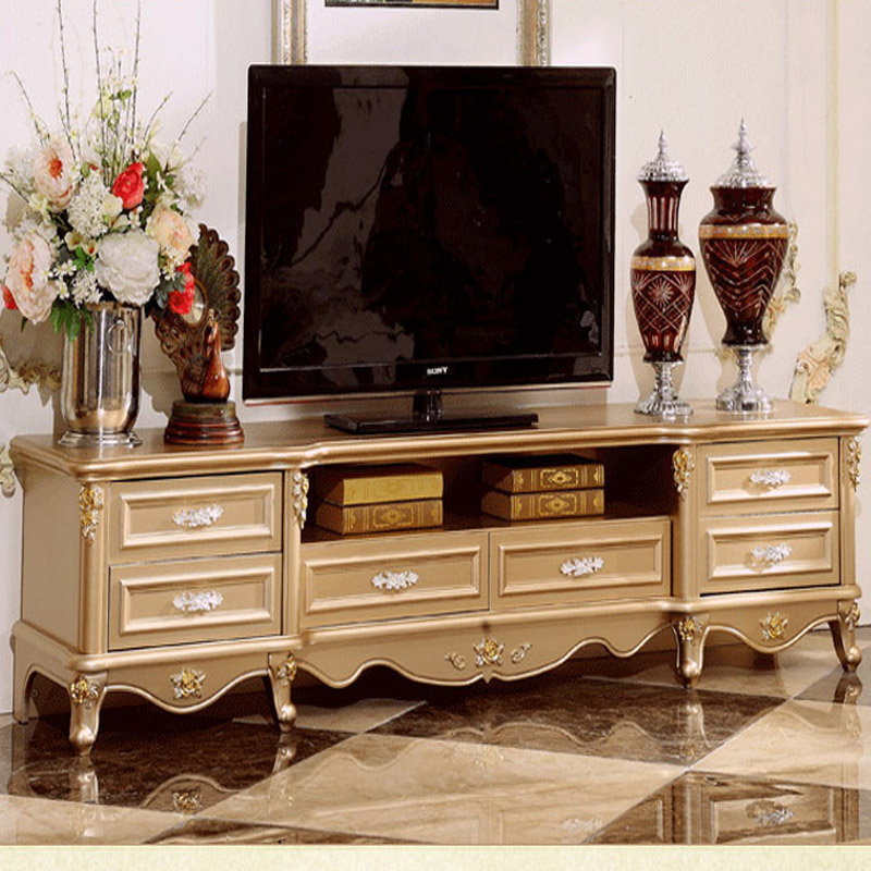 The New French Champagne Gold Tv Cabinet Wood Furniture Living