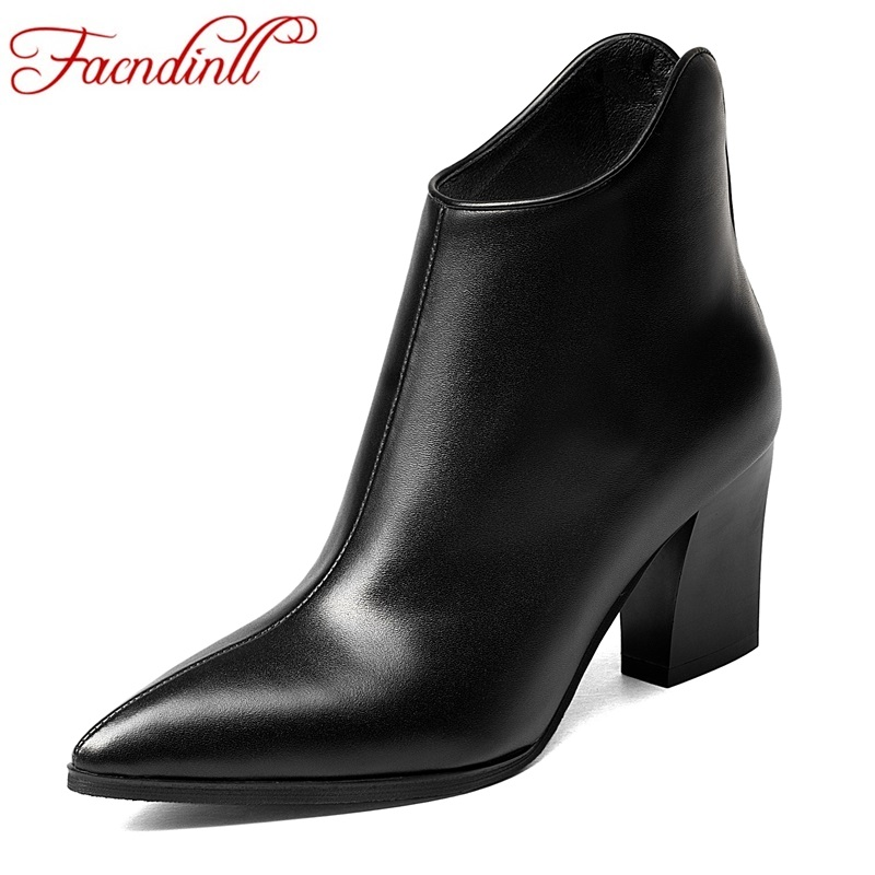 FACNDINLL simple fashion soft genuine leather shoes woman boots autumn winter high heels ankle boots for women black riding boot facndinll shoes woman autumn winter ankle boots new fashion genuine leather med heels pointed toe women casual riding boots