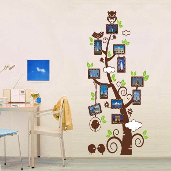 Family Picture Photo Frame Tree Branch Wall Decal Sticker Owl On - Wall decals kids roomowl tree branch photo frames wall decal removable wall stickers