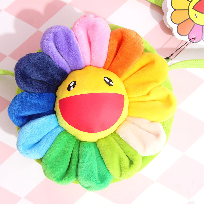 Colorful Sunflower Plush Toy Cartoon Smile Sunflowers Brooch Bag Pendant Gift Toys For Girls Children цена