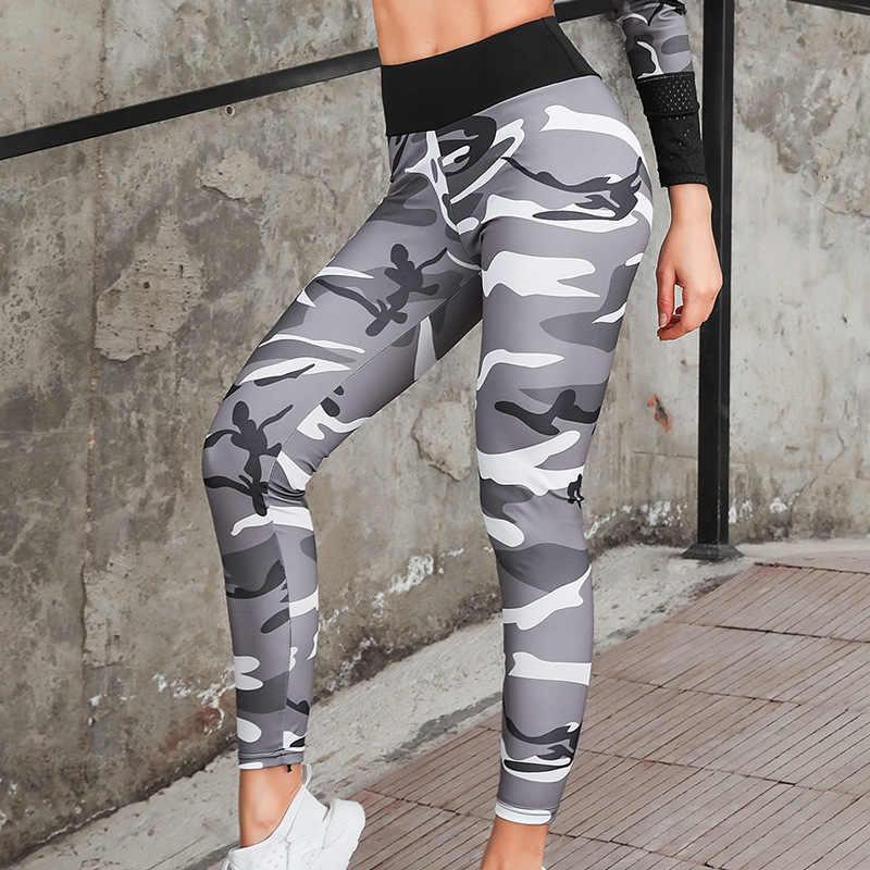 FDBRO Outdoor Fitness kobieta garnitur slim fit nadruk kamuflaż z kapturem strój do jogi oddychający bieganie sport obcisłe legginsy jogi