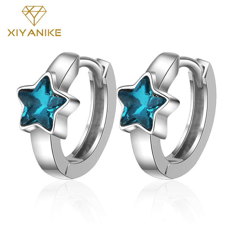 XIYANIKE 925 Sterling Silver Fashion Blue Five-pointed Star Crystal Earrings For Women Korean Simple Round Triangle Jewelry Gift