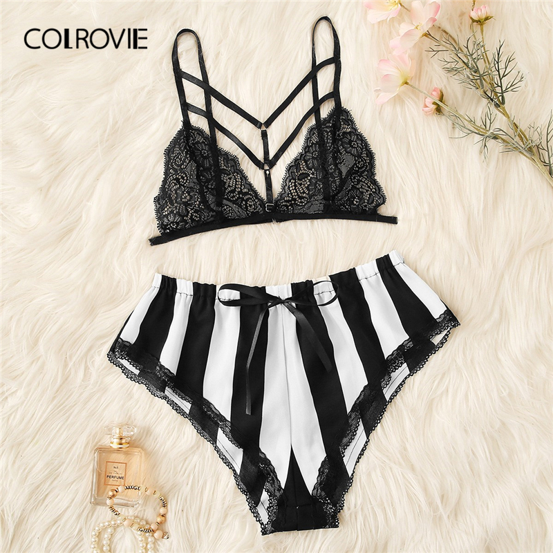 COLROVIE Black and White Floral Lace Bralette With Satin Striped Shorts Sexy   Pajama     Set   Women 2019 Summer Sleeveless Sleepwear