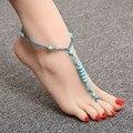 2015 sexy handmade turquesa pedra tornozeleira sandálias descalças noivas sensuais sapatos, praia piscina yoga desgaste da praia tornozeleira, hippy boho chique