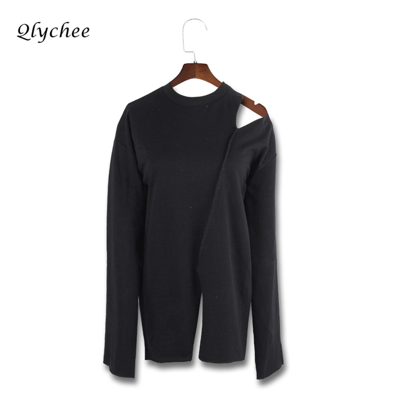 Qlychee Hollow Out Off Shouler Women Casual Tshirt Tops Long Sleeve Split Elegant Loose Spring Autumn Clothing Female T-shirt ...