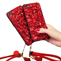 For Iphone 6 6S 7 8 Plus Luxury Shiny Ruby Phone Cases Fashion Red Gem Bling