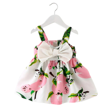 Baby Girl Dress Summer Baby Bow Chiffon Dress Infant Sleeveless Floral Dress 1 Year Birthday Dress Baby Clothes 3-24 Months