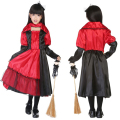 2016 Hot Sale Cute Girls Witch Costume Red Riding Hood Bowknot Dress Home Alone Carnival Halloween Kids Gifs Stage Performance