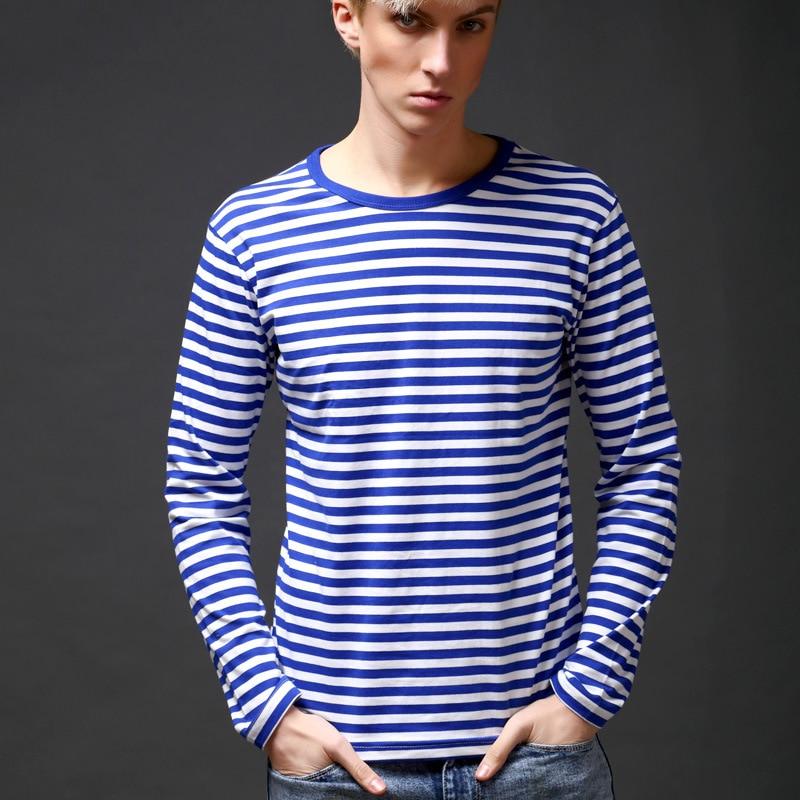 Autumn Russian Navy Style Striped T Shirts Men Cotton Breton Top Casual Man O-Neck Long Sleeve T-shirt Fashion Sailor Clothing