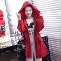 Donna Primavera y Otoño Mujeres Largo Trench Rojo Europeo Abrigo Con Capucha Cazadora Informal Cintura Ajustable Trench Mujer Abrigos W253Z