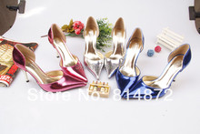 Luxury metal 2014 fashion sexy pointed toe high-heeled shoes fashion plus size women's shoes