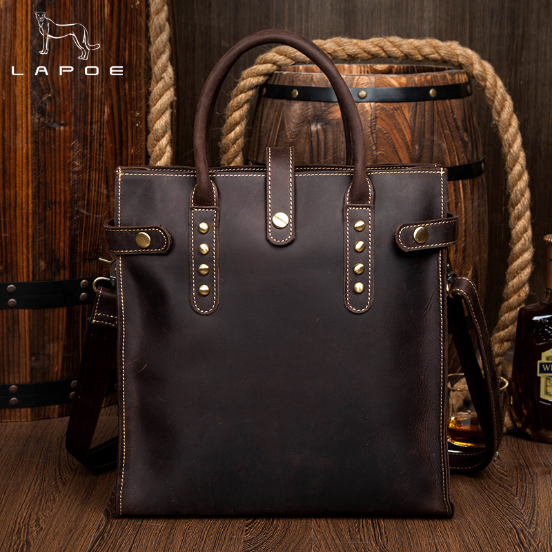 купить LAPOE Genuine Leather Briefcases Men Casual Business Man Bag Office Briefcase Bags Laptop Bag Travel Handbag по цене 7147.9 рублей