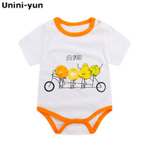 Unini-yun baby clothes Baby rompers infant girl Newborn baby clothes fruit print cotton white summer rompers suits Coverall cheap Short Unisex Fits true to size take your normal size 6688 O-Neck cartoon Pullover