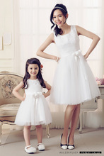 Mother Daughter Dresses Wedding Dress Lace White Clothes Princess Tutu Skirt Flower Mom and Baby Daughter Girl Matching Clothes