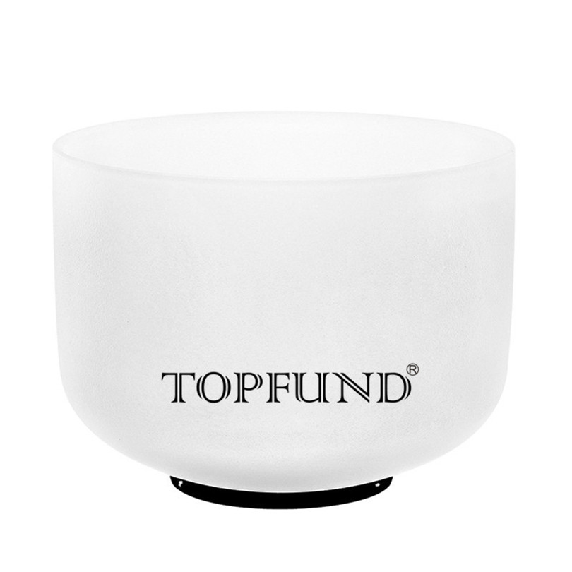 TOPFUND 432hz/Perfect Pitch Tuned A# Note Pineal Chakra Frosted Quartz Crystal Singing Bowl 8 inch,o ring and mallet included