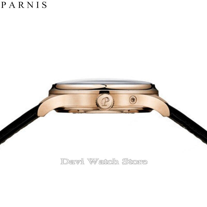 파르 미스 42mm 화이트 다이얼 로즈 골드 케이스 26 보석 miyota 자동식 남성 시계-에서기계식 시계부터 시계 의  그룹 2