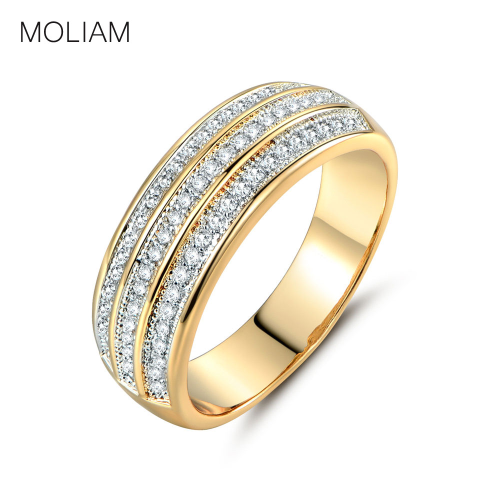 MOLIAM Three Rows Shining Rings Female Gold-Color Crystal Zirconia Designer Ring for Women Fashion Jewelry Hot Sale MLR261