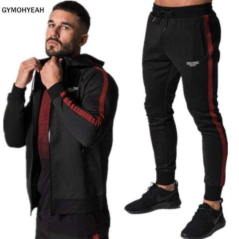 GYNOHYEAH 2018 Gyms hommes ensembles vêtements de sport à la mode survêtements ensembles hommes Hoodies + pantalon veste décontractée costumes indépendance match