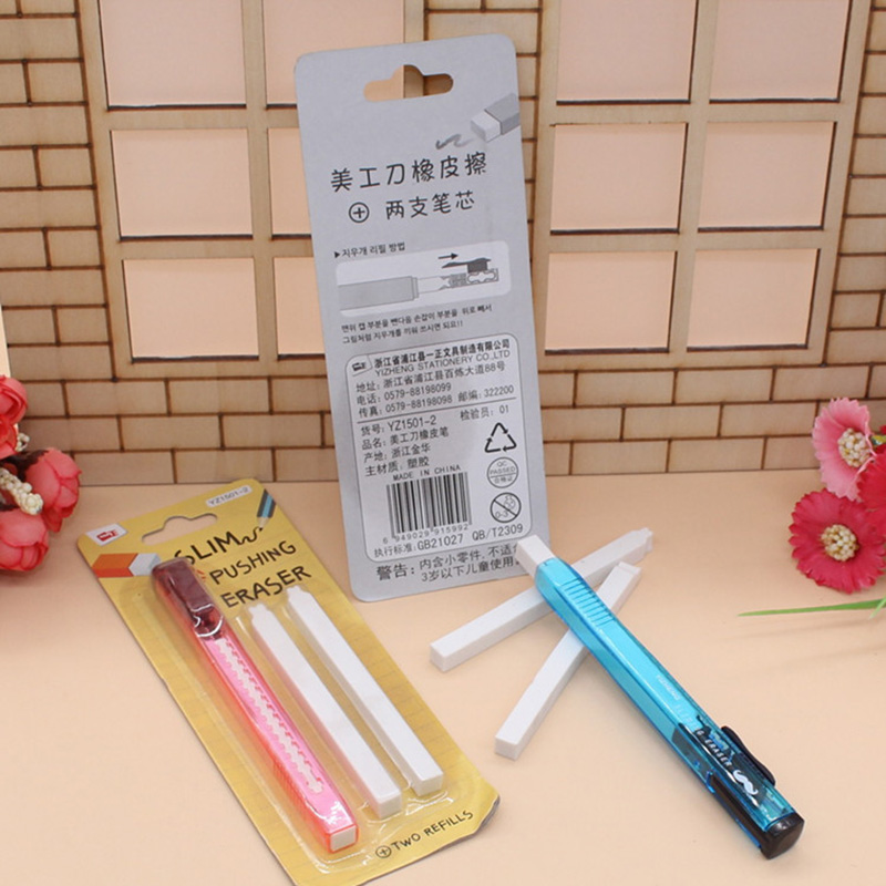 Novelty Creative Utility Knife Shape Slim Pushing Eraser With Two Refills Erasers For Kids Gift Kawaii Item Korean Stationery