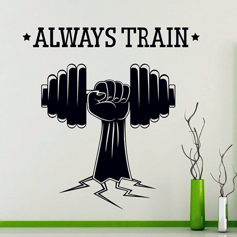 NEW Always Train - Fitness Wall Sticker Sports Gym Yoga Vinyl Decal Home Interior Decoration Waterproof High Quality Mural