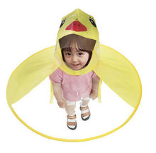 Creative UFO Children Raincoat Cute Duck Baby Rain Coat Transparent PVC Waterproof Hat Umbrellas Headwear(China)