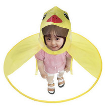 Creative UFO Children Raincoat Cute Duck Baby Rain Coat Tran