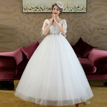 Wedding Gowns with Sleeves 2019 Bridal Dress Ball Gown Vintage Illusion Floral Lace Tulle V-Neck Short Sleeve Pregnant White