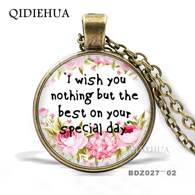 QIDIEHUA 2019 New Fashion Flower Glass Necklace Hope Art Cabochon Pendant Necklace Barnd Jewelry for Women Men Best Friend Gift